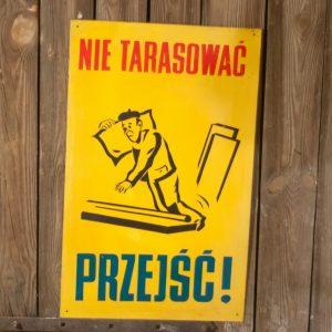 Nie tarasować przejść! tablica BHP, PRL, Vintage