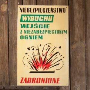 Niebezpieczeństwo wybuchu tablica z czasów PRL vintage polska