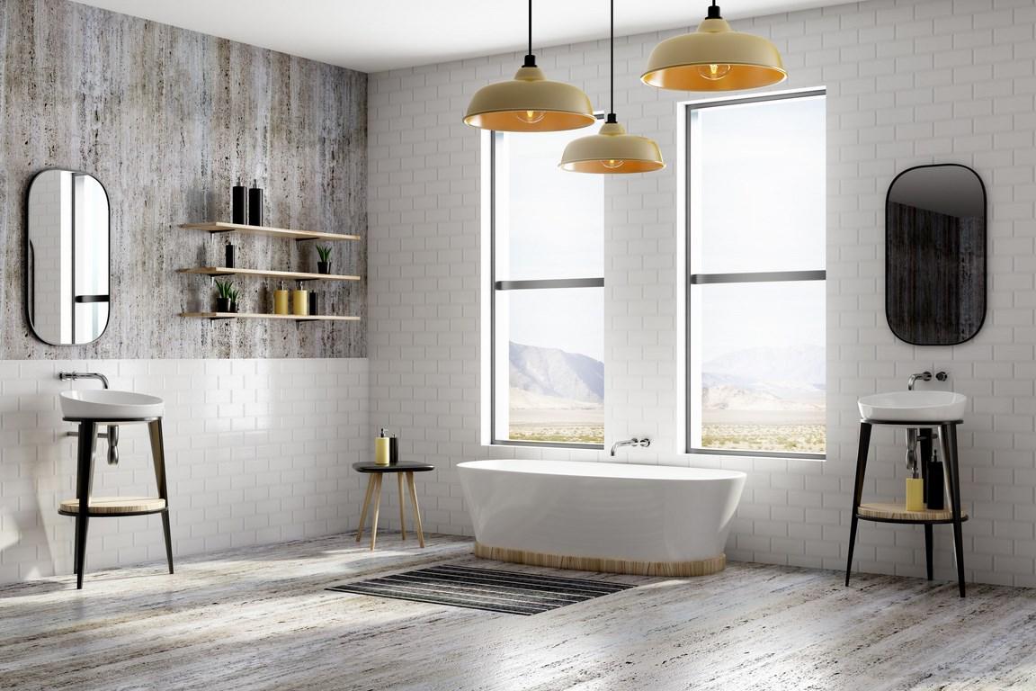 Nowoczesne wnętrze łazienki z białej cegły gipsowej oraz akcesoria łazienkowe