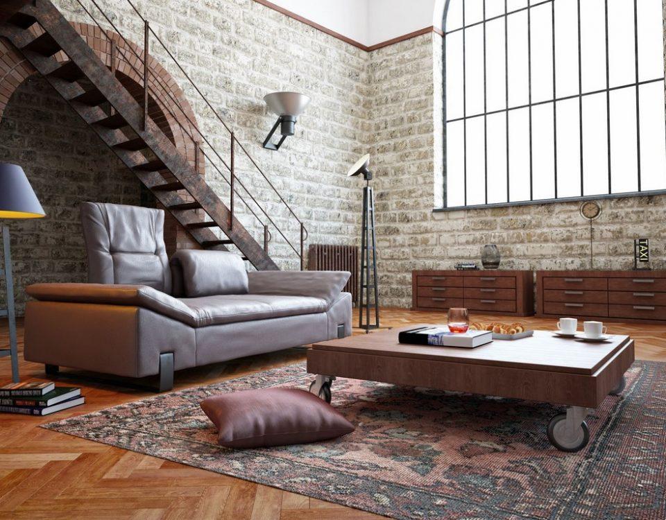 ściana z cegły pomieszczenie loft apartament