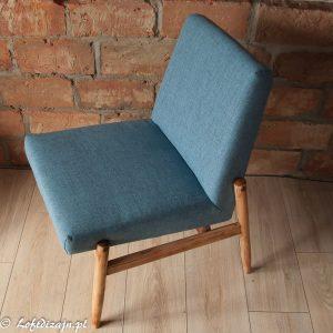 Niebieski fotel PRL loft
