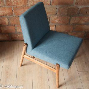 Niebieski fotel PRL vintage