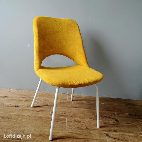 Krzesło Meblomet musztardowe nogi białe