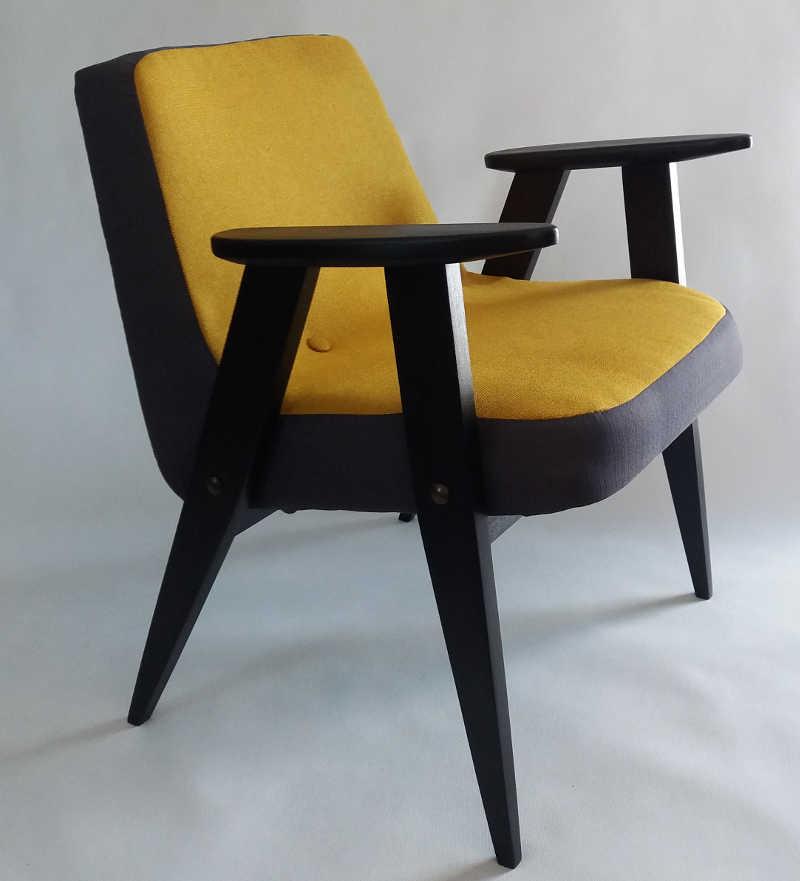 Fotel 366 Chierowski musztardowo czarny
