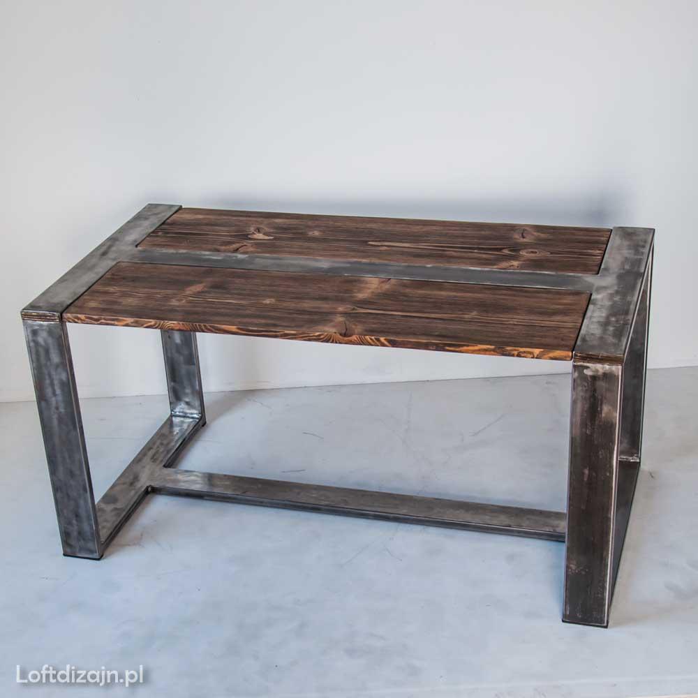 meble drewniane stolik industrialny prostokątny